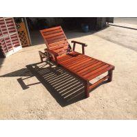 广州品木供应户外沙滩椅防腐木 游泳馆休息躺椅