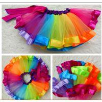 厂家直销儿童舞台表演彩虹裙 公主裙学生半身裙儿童蓬蓬裙现货