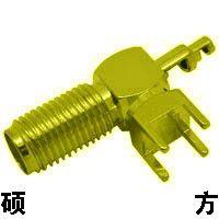 全铜镀金SMA接头 SMA-KEW母插板 外螺纹内针偏脚 正脚射频连接器