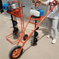 人力手推式打坑机 单人操作多功能挖坑机 汽油植树打桩机