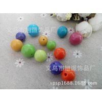 厂家直销亚克力圆珠 塑料中孔珠 大孔珠子 颜色新颖 规格齐全