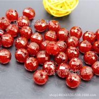 厂家直销 果冻珠 红色亚克力散珠 地球珠 多切面菱形珠 4-20mm