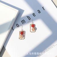 韩国东大门简约几何方形金属风耳环 糖葫芦纯银复古气质同款耳饰
