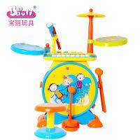 Baoli宝丽儿童爵士架子鼓敲打击乐器玩具手拍鼓带电子琴女孩早教