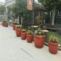 石家庄混凝土仿木花箱价格,水泥仿木种植花桶价格