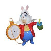 玻璃钢卡通兔子 复活节兔子美陈雕塑 电影爱丽丝梦游仙境兔子雕塑