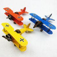 一战双翼飞机模型 手工铁艺工艺品复古摄影道具 书房摆件装饰品