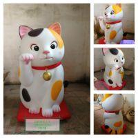 玻璃钢招财猫,玻璃钢动物雕塑,招财猫卡通雕塑,店面形象雕塑摆件