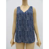 女士蓝色条纹V领雪纺衫,双层正反两用无袖雪纺衫