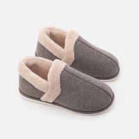 加厚保暖包跟棉拖鞋冬季女 室内居家情侣防滑日式毛绒托鞋男 PVC鞋底