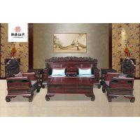 黑酸枝逐鹿沙发7件套组合-红木沙发-酸枝木家具-御森红木家具厂家具直销