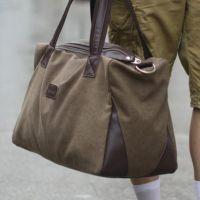厂家供应纯棉帆布行李包 大容量旅行包 男女单肩手提出差包