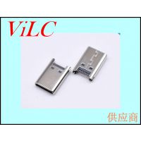 24P夹板USB3.1连接器-TYPE C公头-卡板SMT 铆压不锈钢