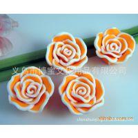 厂家低价促销 软陶配件 软陶花 仿真立体玫瑰 软陶玫瑰花BF-044