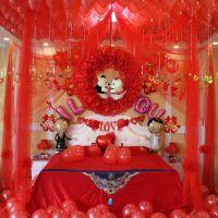 布置气球婚床结婚用品婚房装饰家里窑洞拉花球女方床上娘家套餐浪