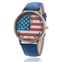 牛仔布古青铜手表美国国旗复古男女情侣石英手表 一件代发
