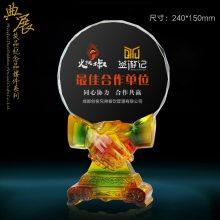 上海教师感谢牌厂家 工厂批发琉璃纪念牌 援疆干部荣休纪念品