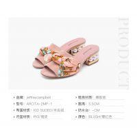 欧美时尚女鞋 Jeffrey Campbell丝带拖鞋一字型珍珠后跟装饰甜美夏季新