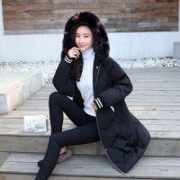 2018新款韩版纯白轻薄羽绒服女中长款收腰爆款羽绒服贴牌加工