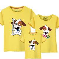 有关带狗狗图案的衣服人穿的母子三人亲子装T恤短袖一家三口装夏