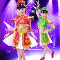 六一儿童演出服表演服蒙古族傣族藏族女童 少数民族舞蹈红绿短裙