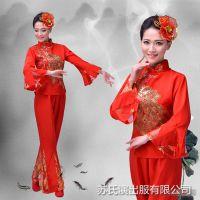 秧歌舞蹈服新款广场舞表演服女式春秋中老年扇子舞演出服女大红色