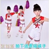 儿童啦啦操啦啦队校园运动会百褶裙健美操中小学生演出服装男女童