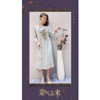 唐斋品牌2019春夏季女装100%唐装连衣裙