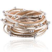 欧美新款多层珍珠pu皮革手链女 时尚镶钻磁铁扣手链手饰pu手镯