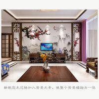 中式仿古木雕客厅 新中式电视背景墙定做 实木花格/抽象/雕花
