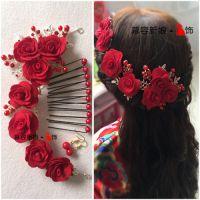 结婚配大公主额饰新娘头饰插花发型新婚蝴蝶结大气超仙红新娘红色