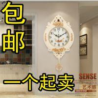 包邮欧式钟表创意挂钟摇摆时尚个性挂表复古静音客厅时钟石英钟
