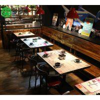 深圳工厂订制欧式音乐餐厅餐桌椅子卡座沙发 实木做旧桌子 铁艺工业风车轮脚