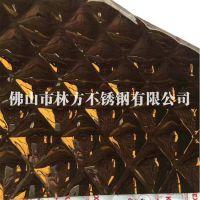 佛山不锈钢压花厂 304镜面钛金 小方格压花板,林方不锈钢彩板现货供应