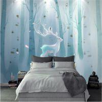 无缝防水壁纸3D立体北欧麋鹿森林壁画卧室床头客厅沙发背景墙壁布