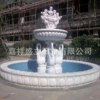 厂家直销汉白玉精美石材喷泉 别墅小区人物动物流水喷泉