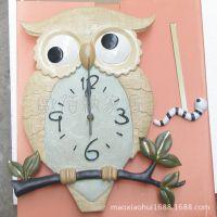 欧式创意卡通猫头鹰树脂挂钟客厅卧室儿童样品房墙钟装饰品摆件