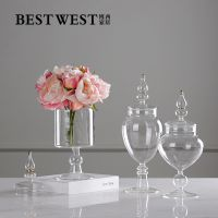 简约现代薄款透明水培迷你花器糖果玻璃储物罐摆件 家居装饰品