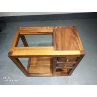 禅意新中式胡桃木茶水柜烧水柜全实木边柜茶桌茶台
