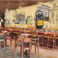 工装墙布手绘城市道路大型壁画3d立体无缝壁纸客厅沙发电视背景墙