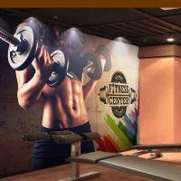 运动健身房无缝壁画壁纸搏击拳击跆拳道馆背景墙装饰墙布无纺布