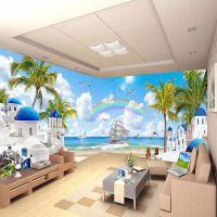 3d立体风景墙纸地中海风格电视背景墙布海景壁纸客厅沙发装饰壁画