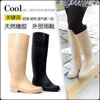 工厂现货 批发 欧版高品质帅气百搭菱格马靴 时尚雨鞋女士雨靴