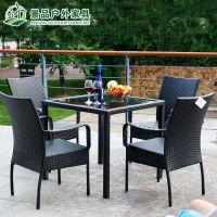 户外阳台家具 花园藤椅组合 休闲藤编桌椅五件套 阳光房仿藤椅子