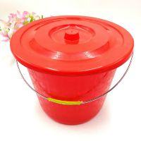 加厚30cm带盖红色塑料桶 大容量耐摔洗衣桶 结实耐用蓄水桶
