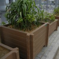 四川园林景观厂家定制混凝土仿木花箱 设计生产水泥仿木组合花箱