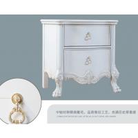 逸邦欧式实木手工雕花床头柜白色双抽储物柜卧室置物柜定制家具