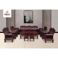 实木客厅古典红木沙发-酸枝木家具-黑酸枝至尊沙发13件套组合-国标红木家具