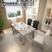 不锈钢大理石餐桌 现代简约时尚新款饭桌 餐厅创意椅子家具批发