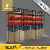 厂家直销免漆板红酒柜货架 单面靠墙钢木饮料酒类货架展示架可定制